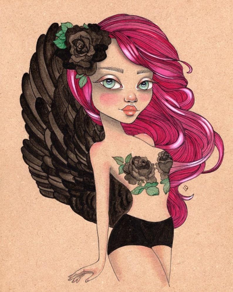 Evangeline Dark Angel Original Art Giclee fine art print 8x10 image 0