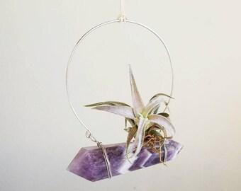 February Birthstone, Hanging Air Plant Hanger Crystal, Boho Decor, Dream Amethyst, Chevron, gift Friend, Ultra Violet Wall Decor