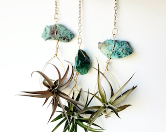 Air Plant Holder, Natural Boho Decor, Chrysocolla Crystal Airplant Planter, Turquoise and Gold Color, Wall Planter, Goddess Energy