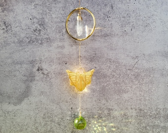 Butterfly Crystal Suncatcher, Art Deco, Insect Decor, Green Glass and Quartz Crystal, Feng Shui Decor, House Warming, Free Gift Wrap