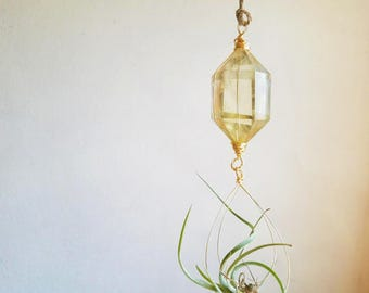 Citrine Hanging Planter For Air Plants, Crystal Air Plant Holder, November Birthstone Gift, Small Space Garden, Housewarming Gift