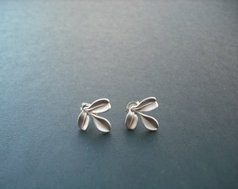 tiny leaf post earrings - matte white gold plated and sterling silver post