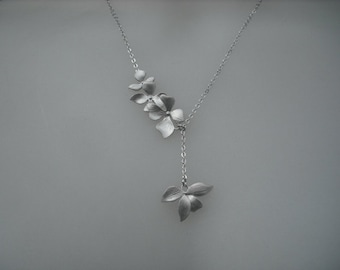 Sterling Silver Chain - matte fourfold wild orchid flowers lariat