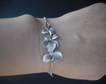 Sterling Silver Chain - orchid flowers bracelet