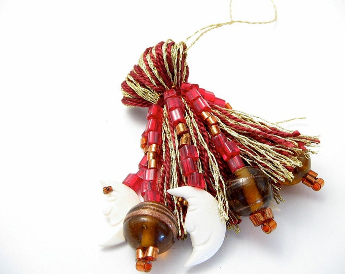 Featured listing image: Moon with Cranberry and Gold Beaded Tassel Christmas Ornament Gift Topper