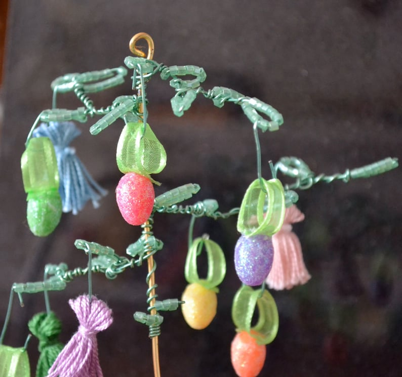 Easter Egg Tree Decorated with Tassels and Sparkly Tiny Eggs image 0