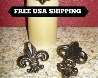 Set of 3 Fleur de Lis Candle Accent Pins  Old World   Medieval  Tuscan Decor   Crosses for Candles   Saints   New Orleans   FleurDeLisJunkie