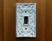 Single Toggle Light Switch Plate Cover, Shabby Chic Wall Plate, Metal Wall Decor, French Country Cottage, Rustic Cast Iron Decor