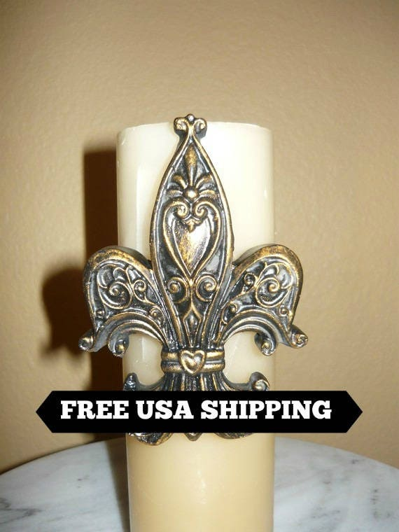 Fleur De Lis Candle Accent Pin Free Usa Shipping Old Etsy