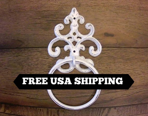 Shabby Chic Towel Ring Fleur De Lis Hand Towel Ring Cast Etsy