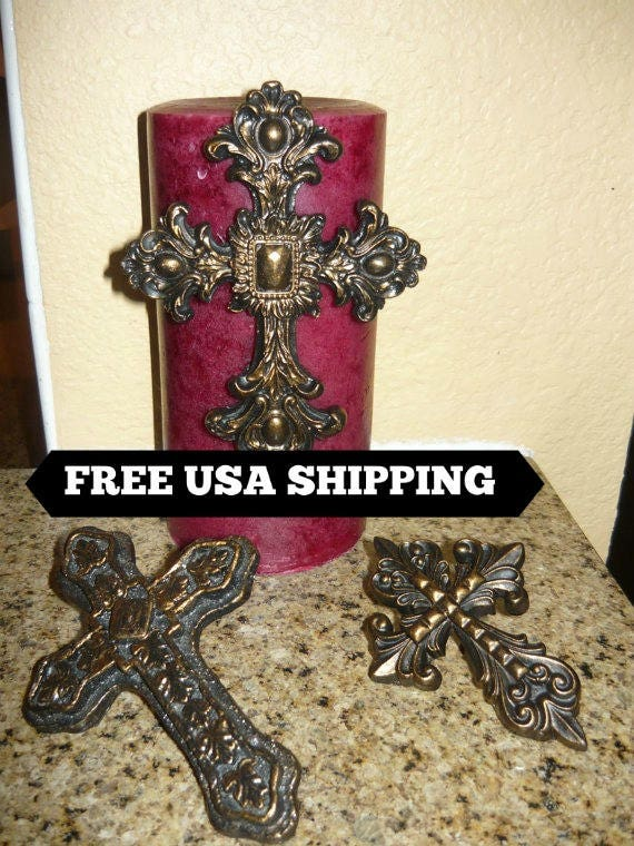 Crown Crosses for Candles Tuscan Fleur de Lis Candle Pin Iron Old World