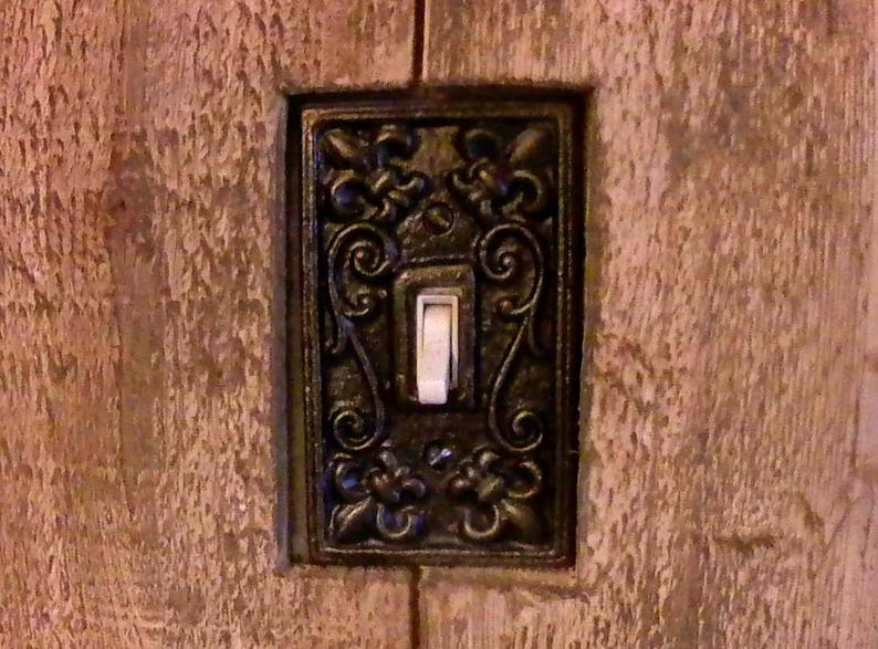 Metal Double Light Switch Plate Tuscan Old World Medieval Fleur de Lis Cover