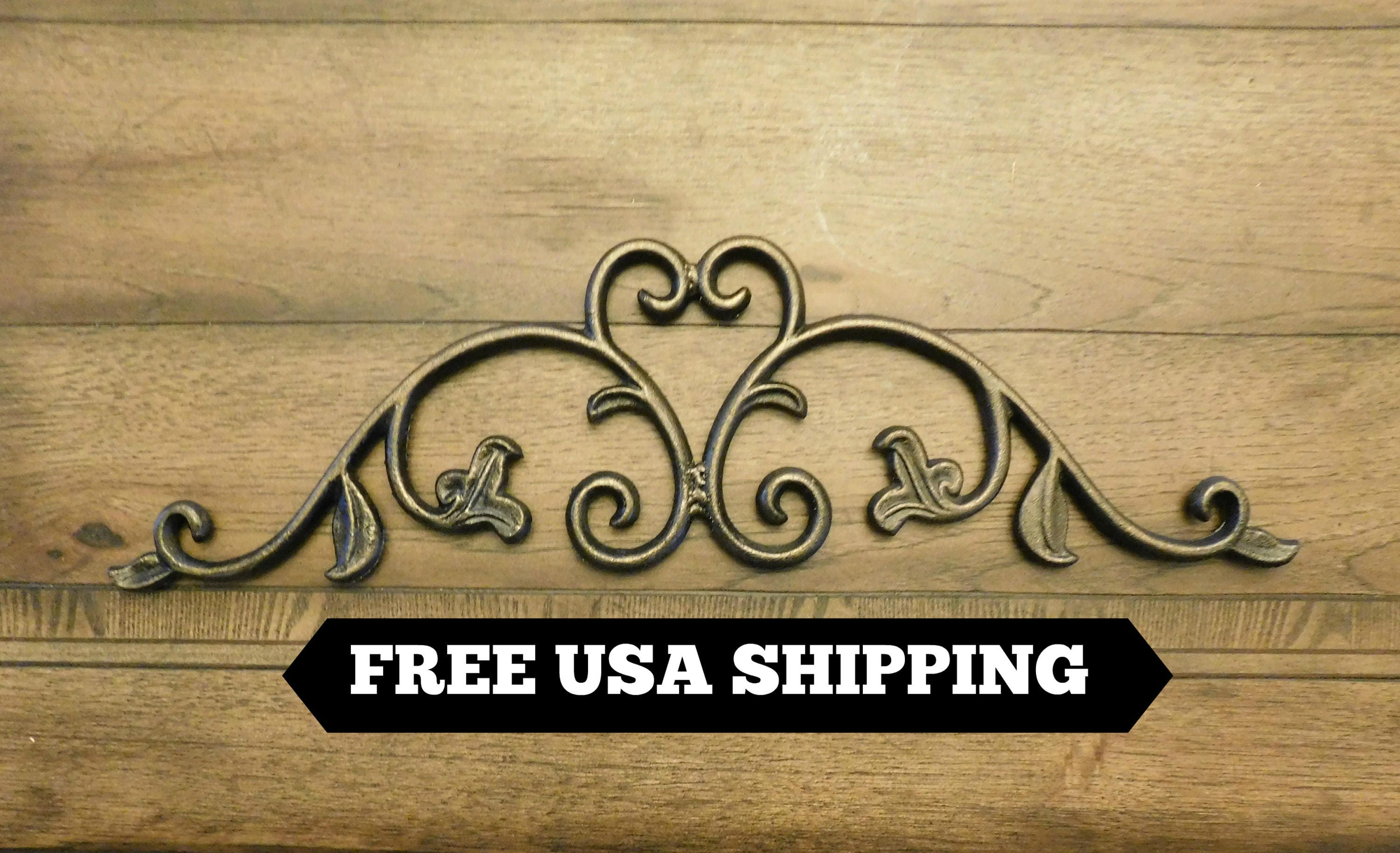 24 in. Cast Iron Topper Pediment Wall Plaque Old World