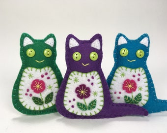 Felt cat ornament, Handmade embroidered cat ornament, Felt Christmas ornament, Felt flower cat ornament, Purple, Green, Turquoise cat.
