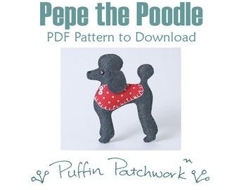 Poodle sewing pattern, Poodle PDF pattern, Digital download Poodle craft pattern, Felt dog sewing pattern, Poodle ornament pattern.