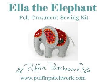 Elephant sewing kit, Felt elephant ornament kit, DIY sewing kit, Felt Christmas ornament sewing kit, Craft kit, Elephant kit, Sewing gift.