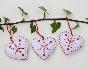 Felt heart Christmas ornaments, Handmade red and white snowflake hearts, Scandi Christmas ornaments, Scandinavian winter ornaments.
