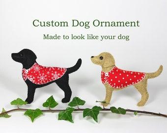 Custom dog ornament, Handmade felt dog Christmas ornament, customised to look like your dog. Labrador, Spaniel, Scottie, Terrier, Dachshund.
