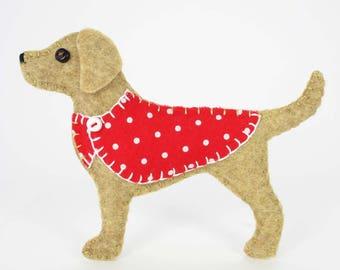 Dog Christmas ornament, Felt Labrador ornament, Golden labrador ornament, Dog Christmas Ornament, Handmade golden labrador ornament