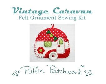 Vintage caravan sewing kit, Felt ornament kit, Christmas sewing kit, DIY sewing kit, Felt Christmas ornament kit, Camper, Trailer Craft kit.