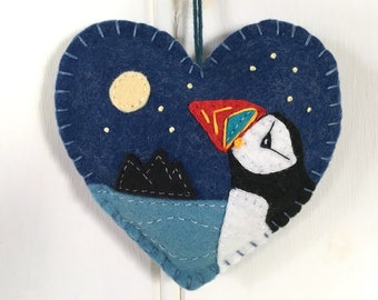 Felt puffin ornament, Handmade hanging heart decoration, Irish puffin ornament, Coastal seabird ornament, Embroidered puffin textile art.