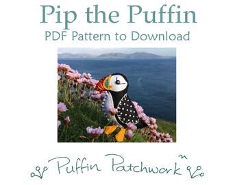 Puffin sewing pattern, Puffin PDF pattern, Puffin ornament pattern, Puffin craft pattern, Felt bird sewing pattern, Bird ornament pattern.