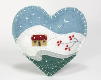 Felt Christmas ornament, Handmade Irish cottage felt heart ornament, Winter landscape original felt art, Snow scene, Handmade Irish gift.