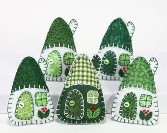 Felt Christmas ornaments, Handmade felt houses, Green and white Irish ornaments, Miniature houses, Felt houses, Felt house ornaments.