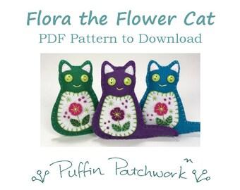 Flower Cat PDF pattern, Felt cat ornament pattern, Cat sewing pattern, Felt Christmas ornament pattern, Handmade cat ornament PDF pattern