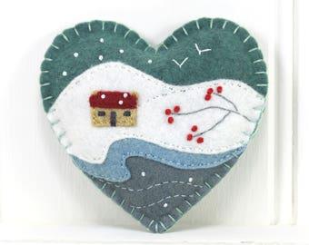 Felt Christmas ornament, Handmade heart ornament, Embroidered winter landscape original felt art, Snow scene, Irish cottage ornament.