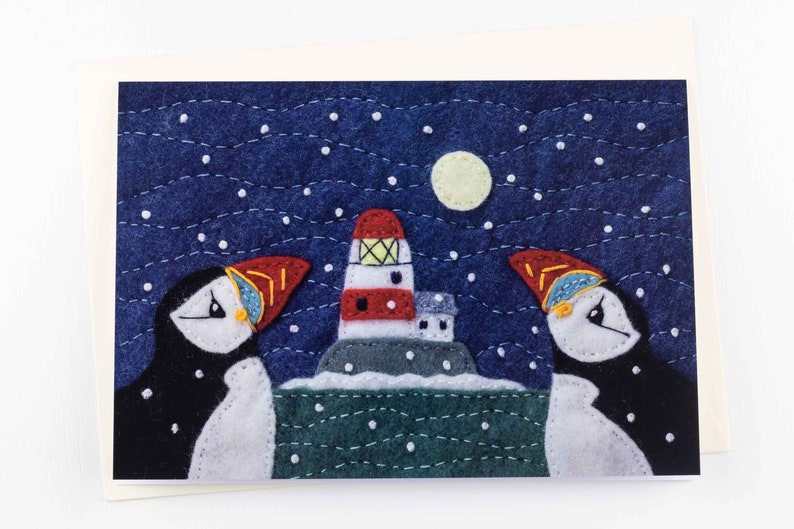 Irish snowy coastal scene with puffins. Large A5 Puffin and Lighthouse Christmas cards Pack of 5 Christmas cards
