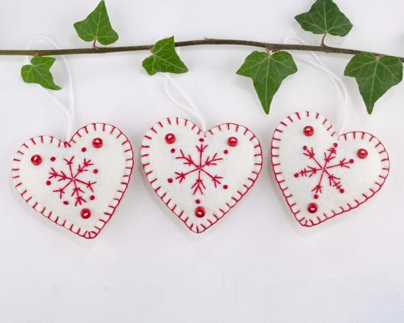 Felt Heart Christmas Ornaments With Embroidered Snowflakes In Etsy