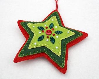 Felt Christmas ornament, Red & Green star Christmas ornament, handmade christmas ornament, felt star ornament, star Christmas ornament