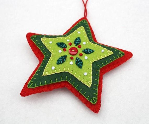 Filz Christbaumschmuck Rot Grun Stern Weihnachten Etsy