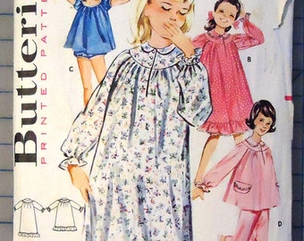 8006778c33 Butterick 2158 - 1960s Girls Pajamas - Dress In Three Lengths with Bloomers  and Two Piece Set - Vintage Sewing Pattern - 1962