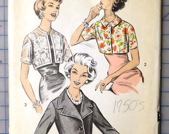 e8835a5b76 Advance 8878 - 1950s Misses  Short Jackets In Three Styles - Vintage Sewing  Pattern - 1959