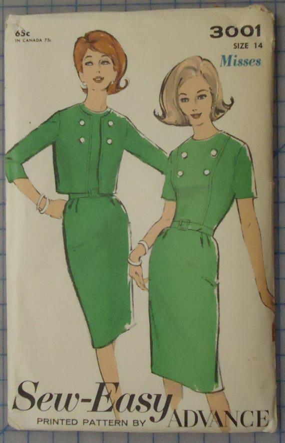 2c91b1e512 Advance 3001 1960s Ladies Short Sleeve Dress   Jacket Suit