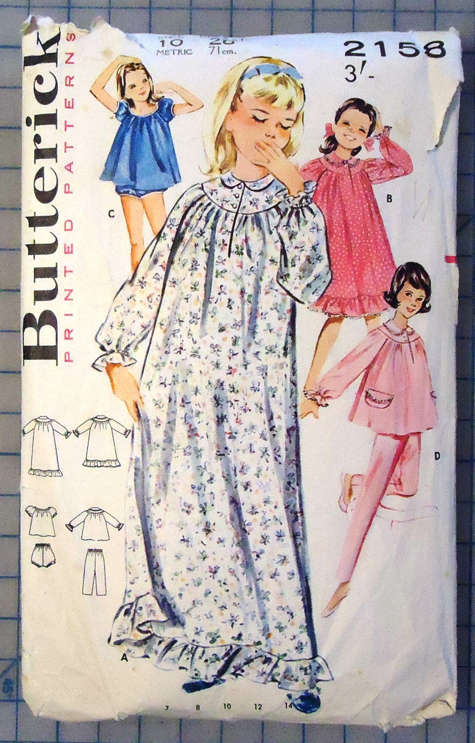 69423b3966 Butterick 2158 1960s Girls Pajamas Dress In Three Lengths