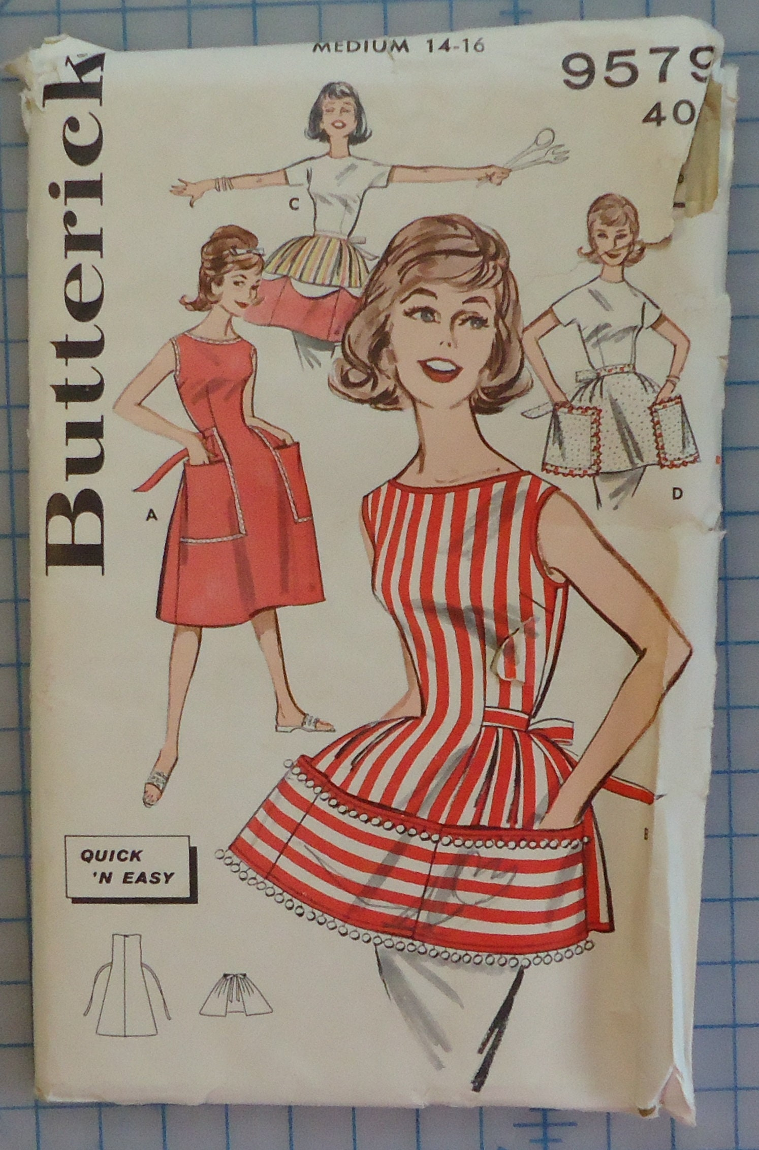 d11389dd62 Butterick 9579 1960s Ladies Quick and Easy Apron Vintage