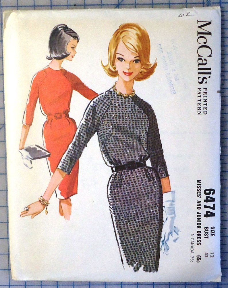 f1096dd96c59a McCalls 6474 - 1960s Ladies Wiggle Dress with Interesting Shoulder Seaming  - Vintage Sewing Pattern - 1962