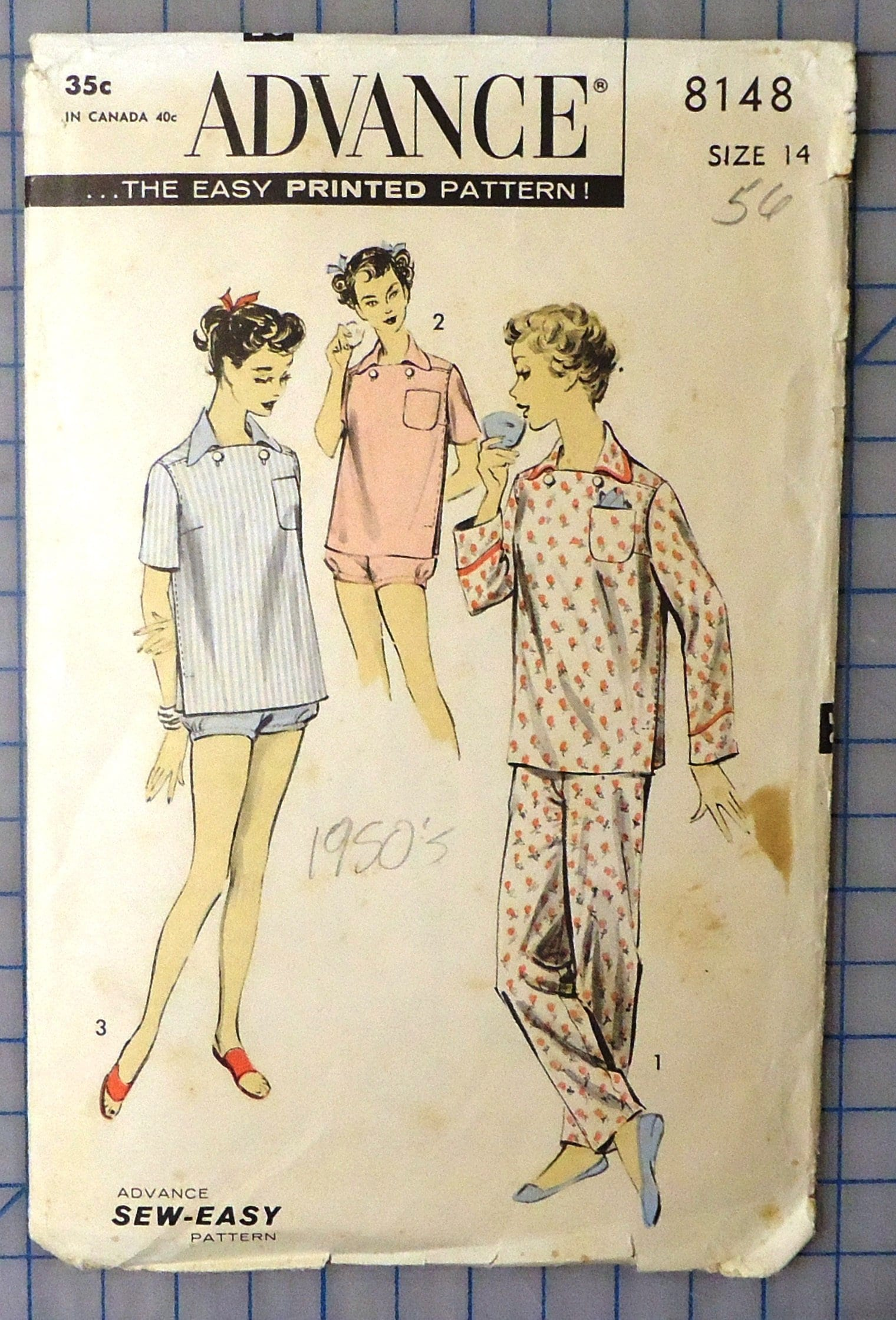 9e933c772d Advance 8148 1950s Italian Inspired Pajamas and Shortie Set