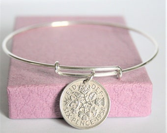 60th Birthday Gift For Women 1958 Charm Bracelet Coin Bangle Sixpence Dated Adjustable Silver Sterling
