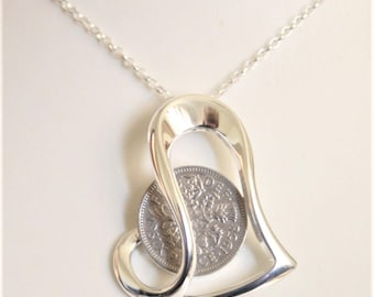 60th Birthday Gift For Women Sixpence Necklace 1958 Birth Year Offset Heart A Woman