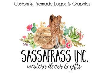 Premade Logo - Watercolor Logo, Cowgirl Logo, Boutique Logo, Boot Logo, Premade Logos, Watercolour Logo, Wedding Logo