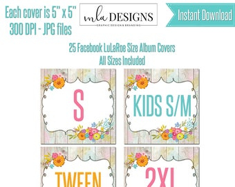 Printable Clothing Size Cards, Custom Marketing Graphics, Facebook Album Covers, Facebook Sizes Album Cover, Instant Download, Clothing Name