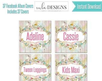 Printable Clothing Name Cards, Custom Marketing Graphics, Facebook Album Covers, Facebook Name Album Cover, Instant Download, Clothing Name