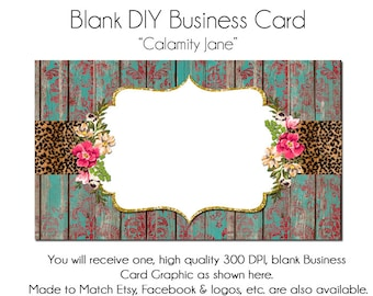 Rustic Business Card Template - Calamity Jane, Made to Match Etsy Sets and Facebook  Covers, Business Card Template, Made to Match