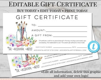editable gift certificate template diy gift certificate etsy