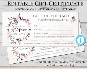 gift certificate template etsy