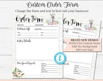 custom order form etsy
